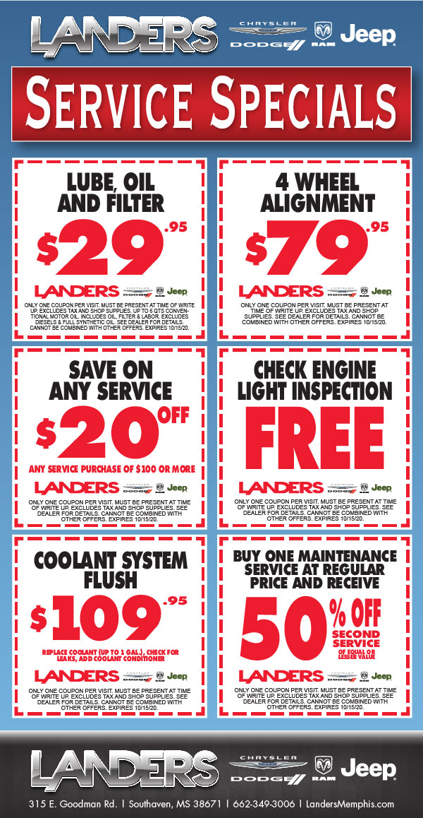 Landers Dodge Chrysler Jeep: Service Special Offers